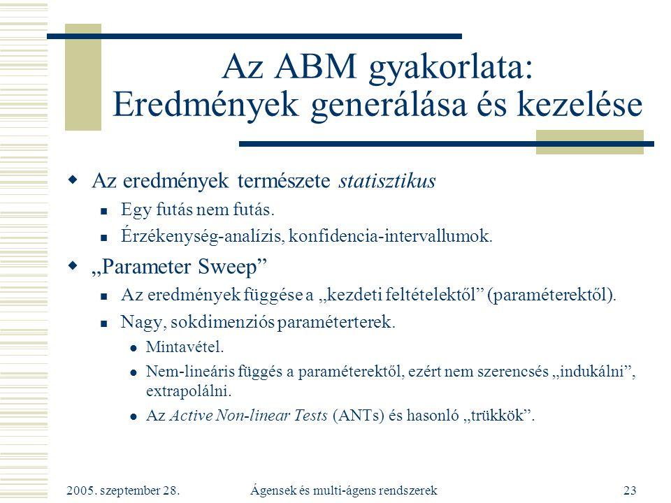 2005. szeptember 28. Ágensek és multi-ágens rendszerek23 Az ABM gyakorlata: Eredmények generálása és kezelése  Az eredmények természete statisztikus