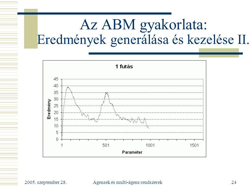2005. szeptember 28. Ágensek és multi-ágens rendszerek24 Az ABM gyakorlata: Eredmények generálása és kezelése II.