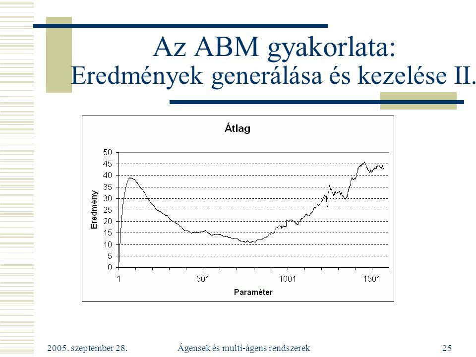 2005. szeptember 28. Ágensek és multi-ágens rendszerek25 Az ABM gyakorlata: Eredmények generálása és kezelése II.