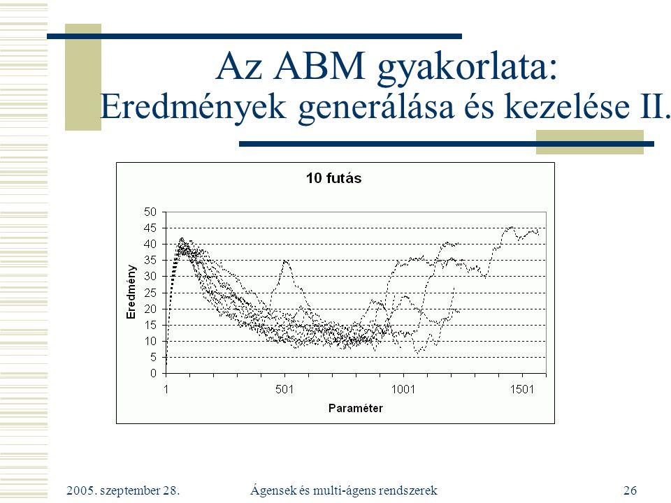 2005. szeptember 28. Ágensek és multi-ágens rendszerek26 Az ABM gyakorlata: Eredmények generálása és kezelése II.