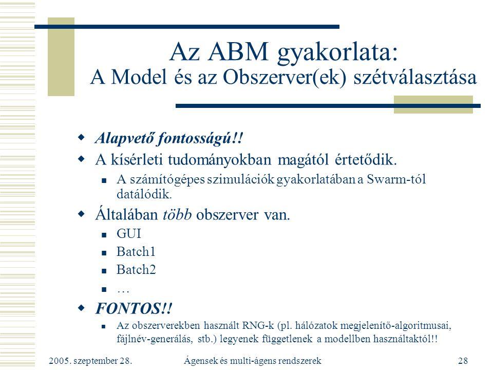 2005. szeptember 28. Ágensek és multi-ágens rendszerek28 Az ABM gyakorlata: A Model és az Obszerver(ek) szétválasztása  Alapvető fontosságú!!  A kís