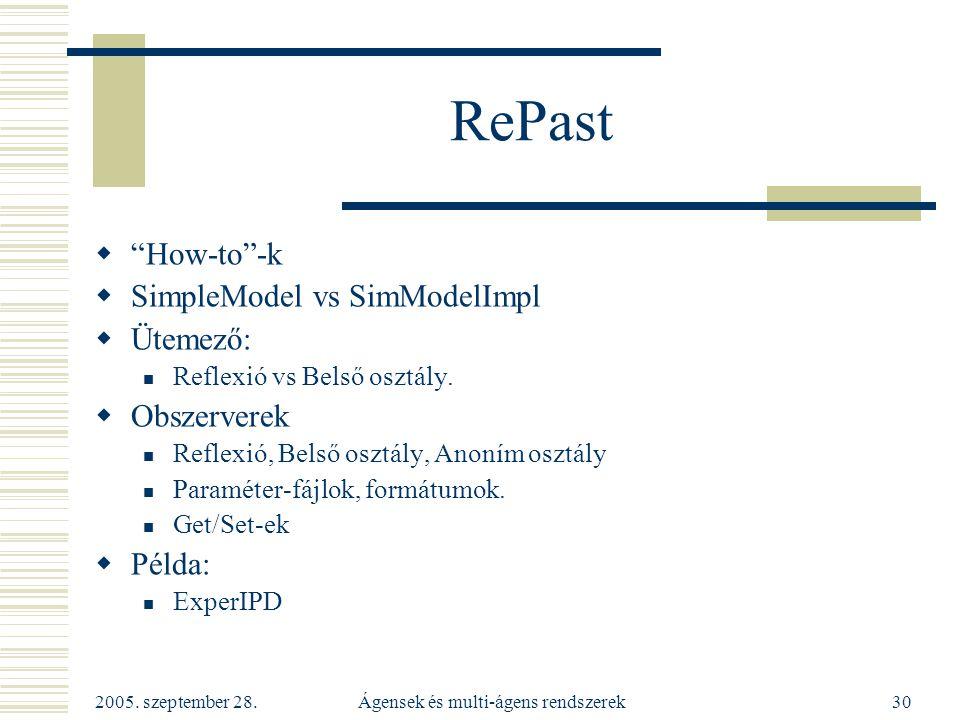 """2005. szeptember 28. Ágensek és multi-ágens rendszerek30 RePast  """"How-to""""-k  SimpleModel vs SimModelImpl  Ütemező: Reflexió vs Belső osztály.  Obs"""
