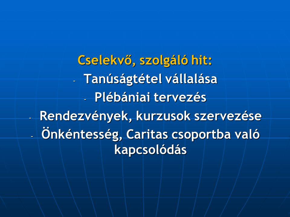 Cselekvő, szolgáló hit: - Tanúságtétel vállalása - Plébániai tervezés - Rendezvények, kurzusok szervezése - Önkéntesség, Caritas csoportba való kapcso