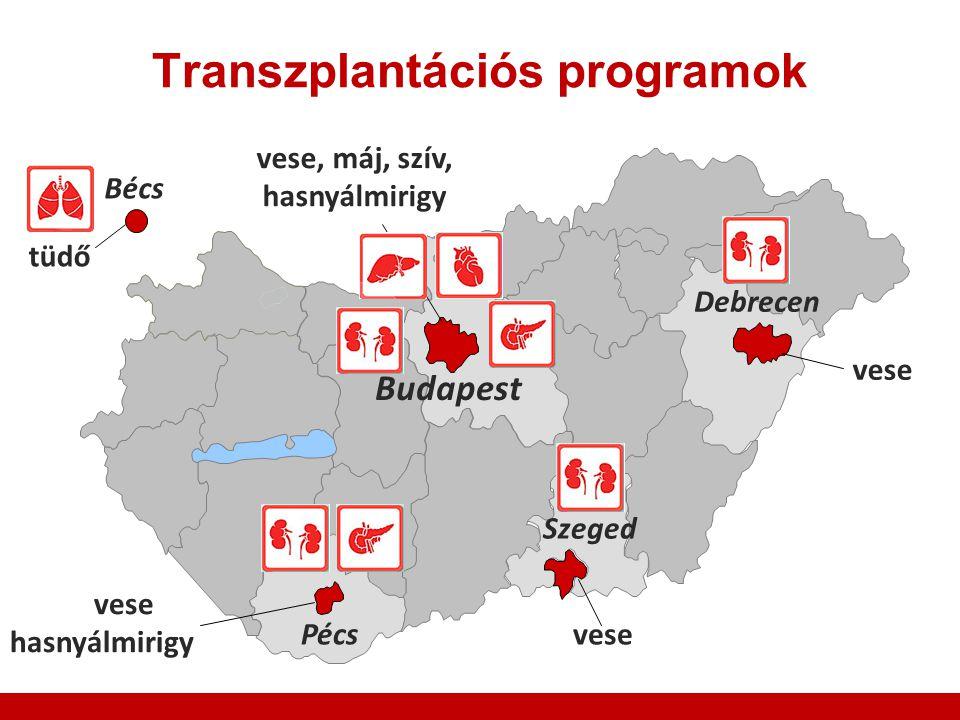 Transzplantációs programok Budapest Szeged Debrecen Pécs Bécs vese hasnyálmirigy vese, máj, szív, hasnyálmirigy tüdő