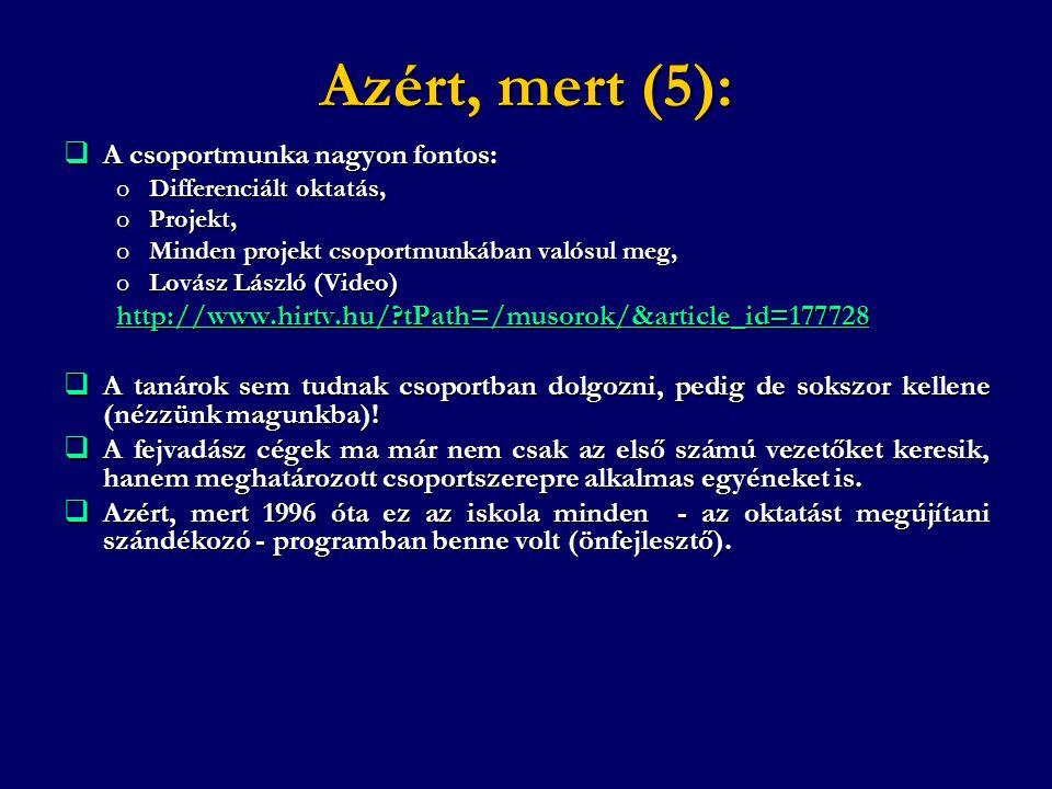 Azért, mert (5):  A csoportmunka nagyon fontos: oDifferenciált oktatás, oProjekt, oMinden projekt csoportmunkában valósul meg, oLovász László (Video)
