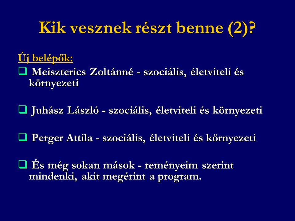 Kik vesznek részt benne (2)? Új belépők:  Meiszterics Zoltánné - szociális, életviteli és környezeti  Juhász László - szociális, életviteli és körny