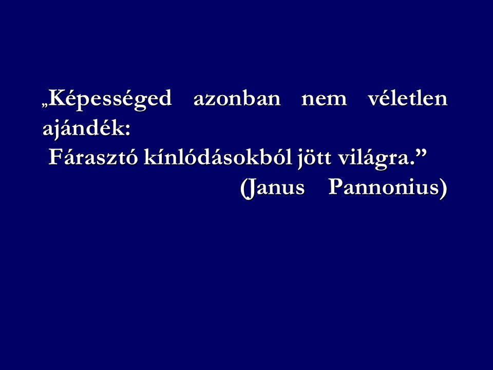 """"""" Képességed azonban nem véletlen ajándék: Fárasztó kínlódásokból jött világra."""" Fárasztó kínlódásokból jött világra."""" (Janus Pannonius)"""
