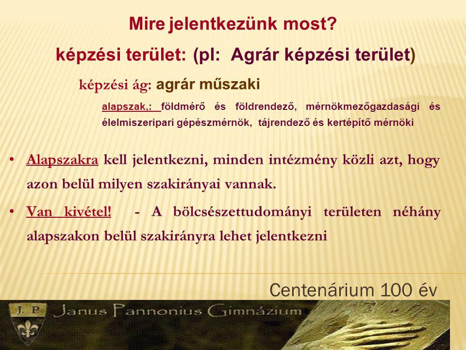  Centenárium 100 év Emelt szintű érettségiért: Egy vizsgáért 50 pont.
