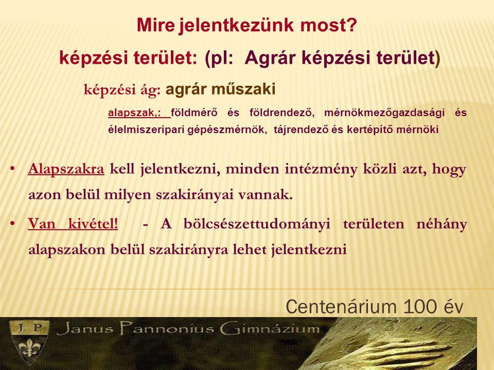 Centenárium 100 év www.felvi.hu www.sulinet.hu Felvételizni szeretnék