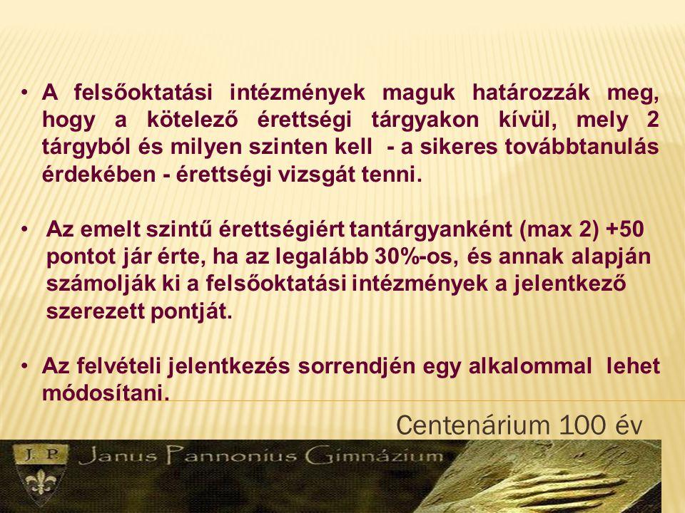 Centenárium 100 év A tanulmányi pontok számítása változik - egy tt.