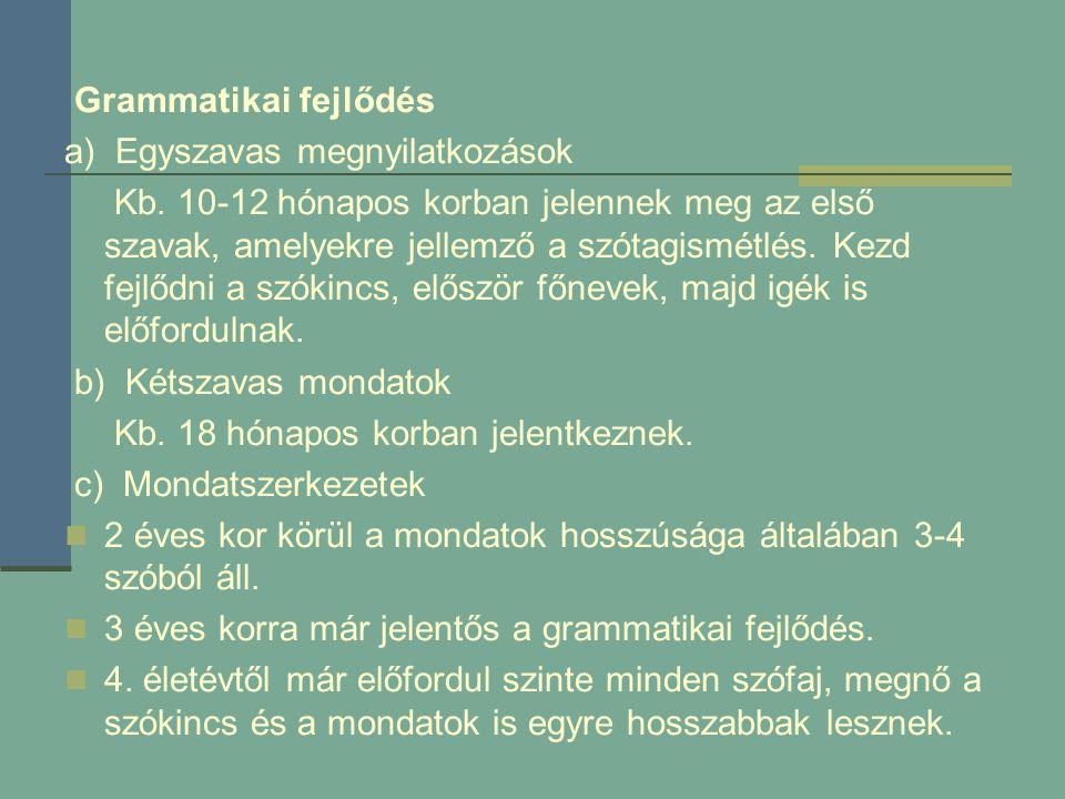Grammatikai fejlődés a) Egyszavas megnyilatkozások Kb. 10-12 hónapos korban jelennek meg az első szavak, amelyekre jellemző a szótagismétlés. Kezd fej