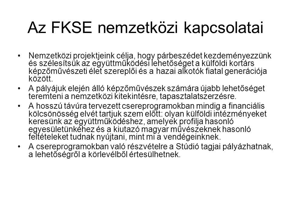 Az FKSE nemzetközi kapcsolatai Nemzetközi projektjeink célja, hogy párbeszédet kezdeményezzünk és szélesítsük az együttműködési lehetőséget a külföldi kortárs képzőművészeti élet szereplői és a hazai alkotók fiatal generációja között.