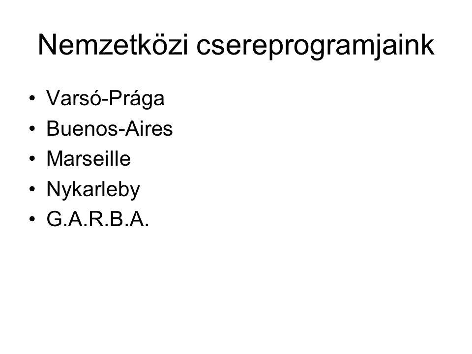 Nemzetközi csereprogramjaink Varsó-Prága Buenos-Aires Marseille Nykarleby G.A.R.B.A.
