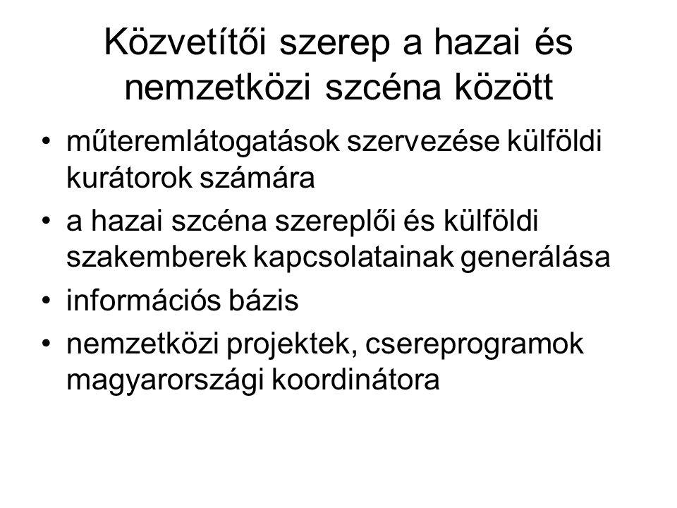Közvetítői szerep a hazai és nemzetközi szcéna között műteremlátogatások szervezése külföldi kurátorok számára a hazai szcéna szereplői és külföldi szakemberek kapcsolatainak generálása információs bázis nemzetközi projektek, csereprogramok magyarországi koordinátora