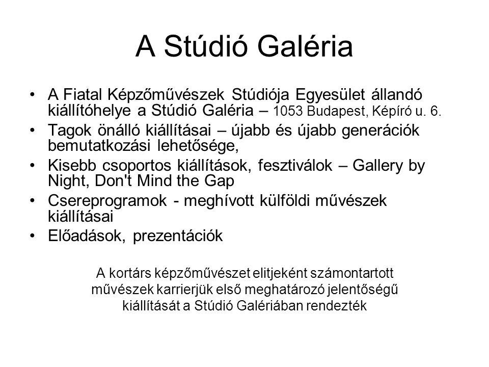 A Fiatal Képzőművészek Stúdiója Egyesület állandó kiállítóhelye a Stúdió Galéria – 1053 Budapest, Képíró u.