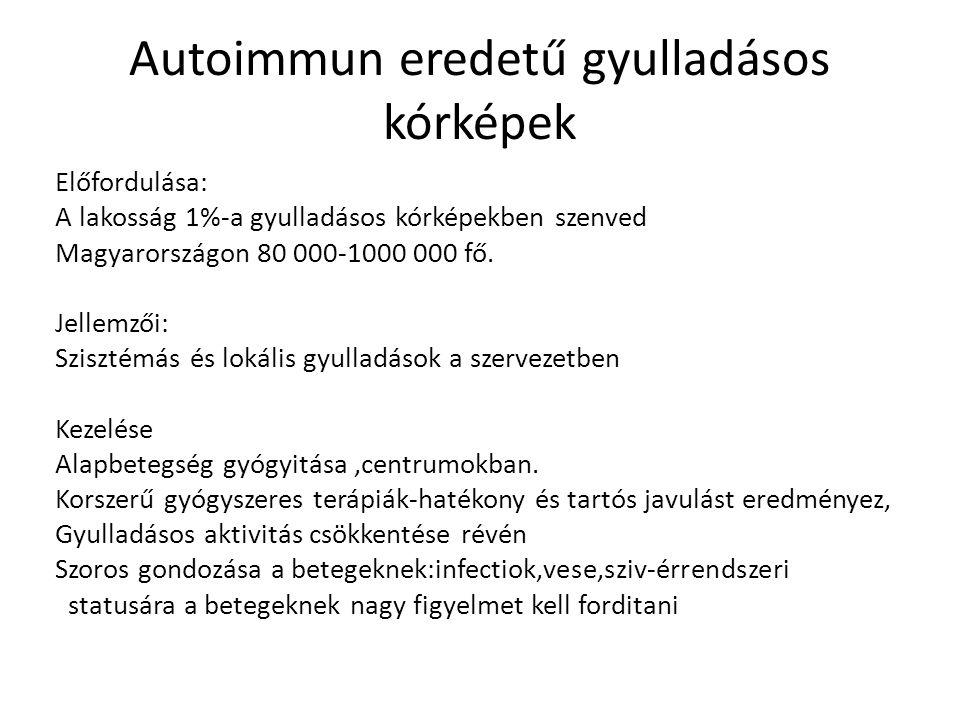 Autoimmun eredetű gyulladásos kórképek Előfordulása: A lakosság 1%-a gyulladásos kórképekben szenved Magyarországon 80 000-1000 000 fő. Jellemzői: Szi