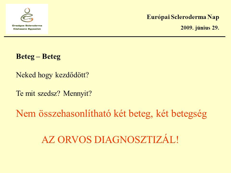 Európai Scleroderma Nap 2009. június 29. Beteg – Beteg Neked hogy kezdődött.