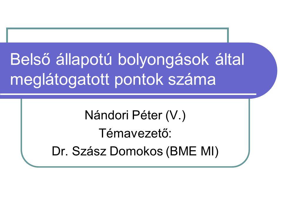 Belső állapotú bolyongások által meglátogatott pontok száma Nándori Péter (V.) Témavezető: Dr.