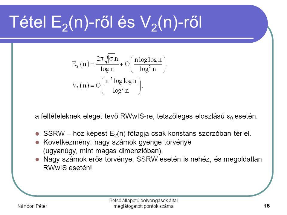 Nándori Péter Belső állapotú bolyongások által meglátogatott pontok száma15 Tétel E 2 (n)-ről és V 2 (n)-ről a feltételeknek eleget tevő RWwIS-re, tet