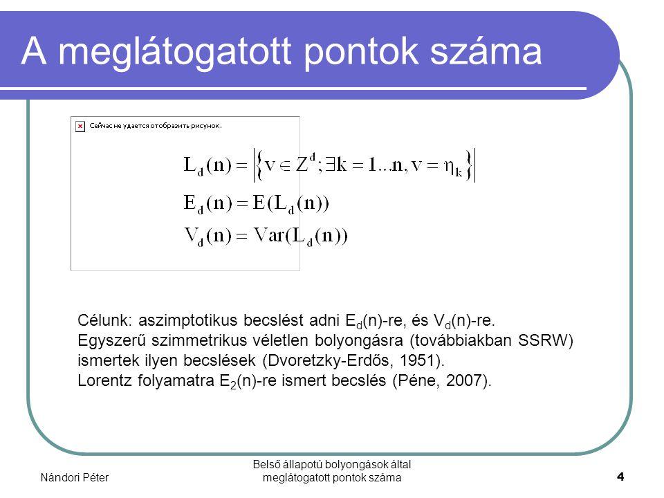 Nándori Péter Belső állapotú bolyongások által meglátogatott pontok száma4 A meglátogatott pontok száma Célunk: aszimptotikus becslést adni E d (n)-re, és V d (n)-re.