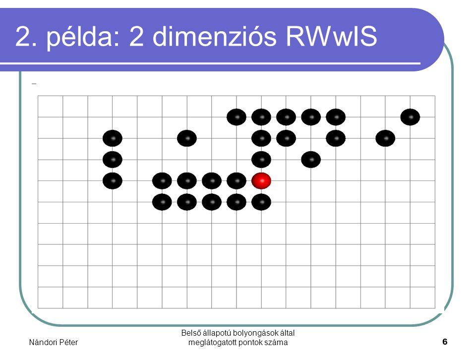 Nándori Péter Belső állapotú bolyongások által meglátogatott pontok száma6 2. példa: 2 dimenziós RWwIS