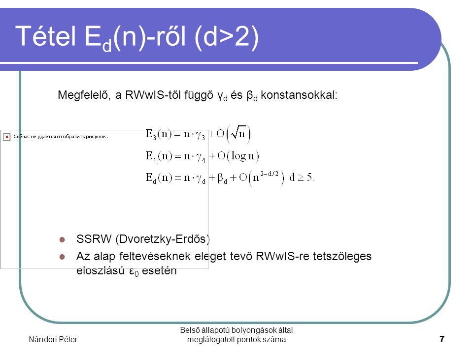 Nándori Péter Belső állapotú bolyongások által meglátogatott pontok száma7 Tétel E d (n)-ről (d>2) SSRW (Dvoretzky-Erdős) Az alap feltevéseknek eleget tevő RWwIS-re tetszőleges eloszlású ε 0 esetén Megfelelő, a RWwIS-től függő γ d és β d konstansokkal:
