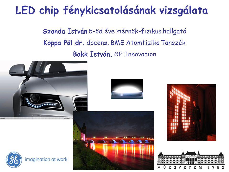 LED chip fénykicsatolásának vizsgálata Szanda István 5-öd éve mérnök-fizikus hallgató Koppa Pál dr. docens, BME Atomfizika Tanszék Bakk István, GE Inn