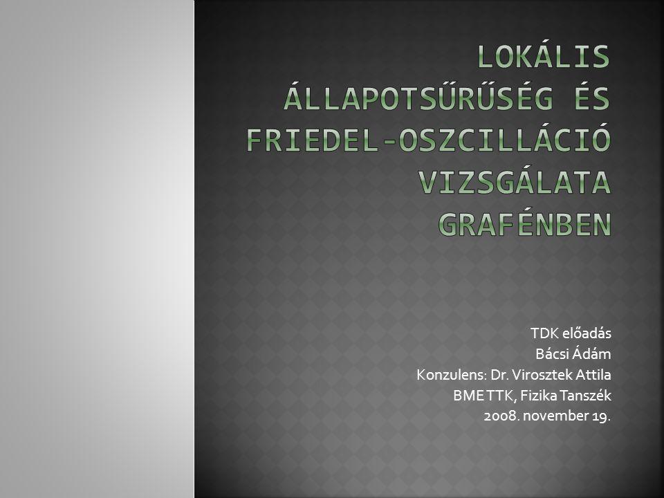 TDK előadás Bácsi Ádám Konzulens: Dr. Virosztek Attila BME TTK, Fizika Tanszék 2008. november 19.