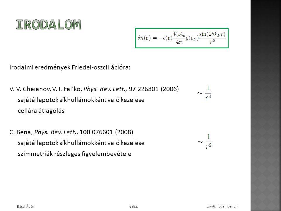 Irodalmi eredmények Friedel-oszcillációra: V. V. Cheianov, V. I. Fal'ko, Phys. Rev. Lett., 97 226801 (2006) sajátállapotok síkhullámokként való kezelé