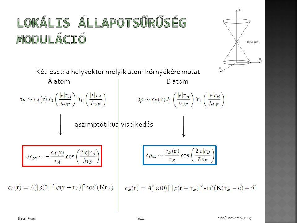 Két eset: a helyvektor melyik atom környékére mutat A atomB atom 2008. november 19. Bácsi Ádám9/14 aszimptotikus viselkedés