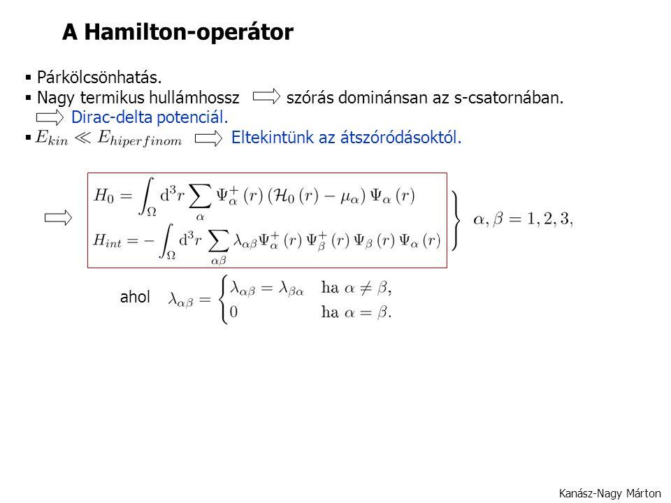 A Hamilton-operátor  Párkölcsönhatás.