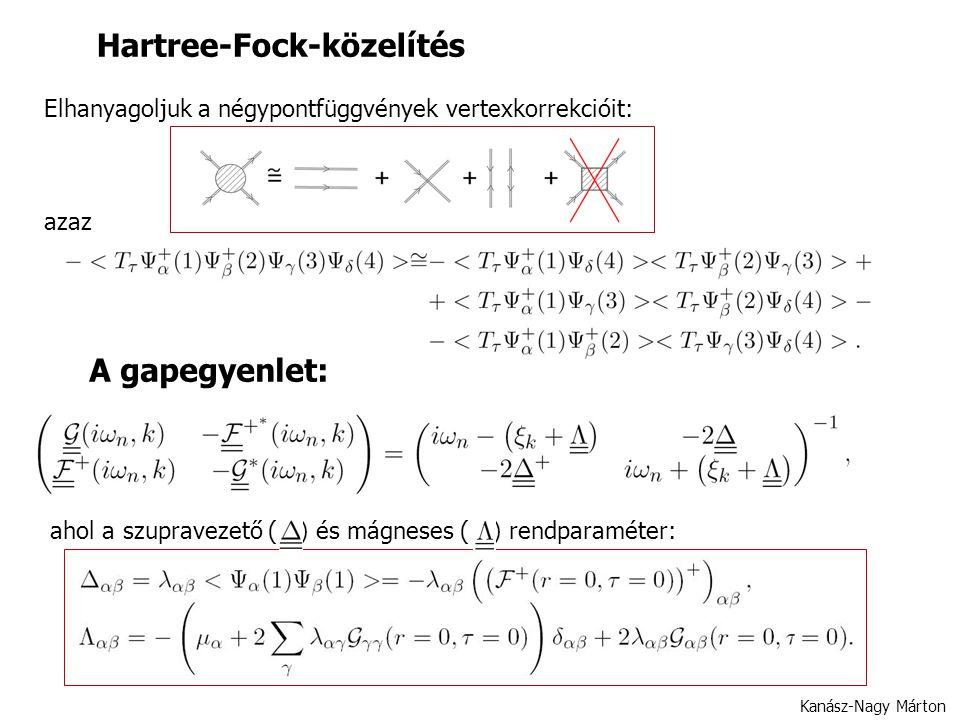 Hartree-Fock-közelítés Kanász-Nagy Márton azaz Elhanyagoljuk a négypontfüggvények vertexkorrekcióit: A gapegyenlet: ahol a szupravezető ( ) és mágneses ( ) rendparaméter: