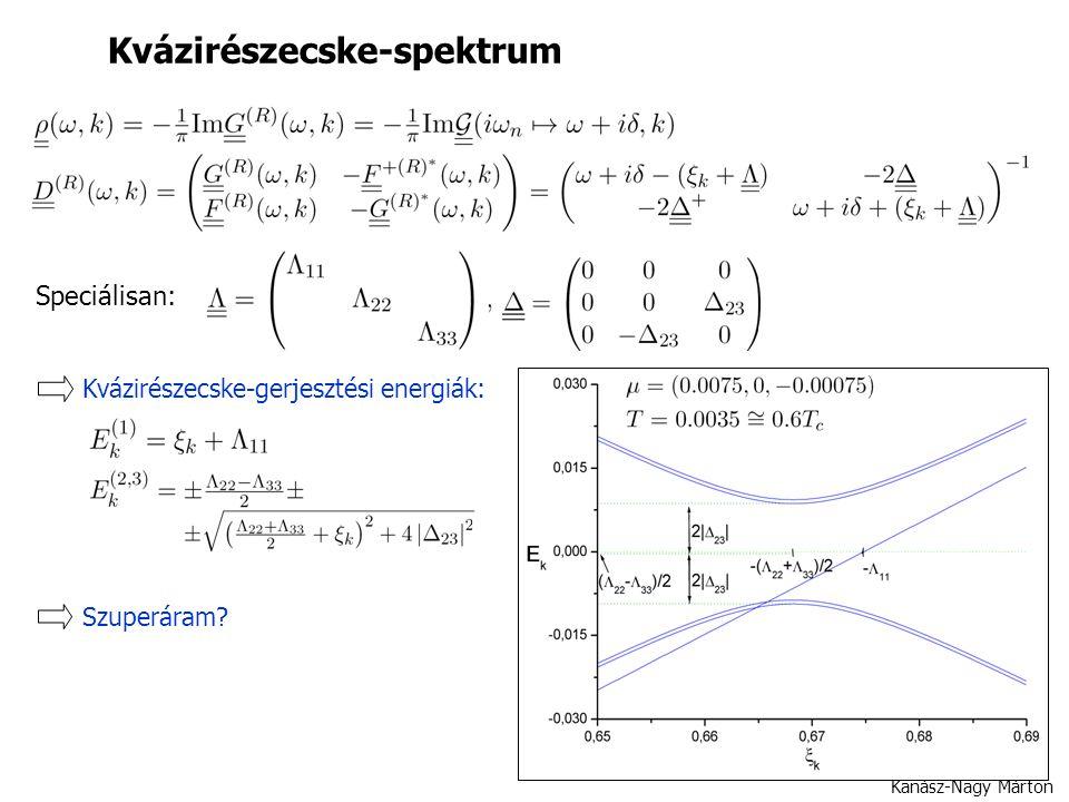 Kanász-Nagy Márton Kvázirészecske-spektrum Speciálisan: Kvázirészecske-gerjesztési energiák: Szuperáram