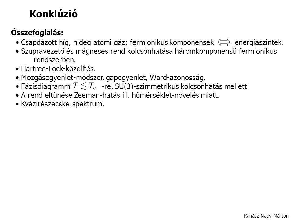 Kanász-Nagy Márton Konklúzió Csapdázott híg, hideg atomi gáz: fermionikus komponensek energiaszintek.
