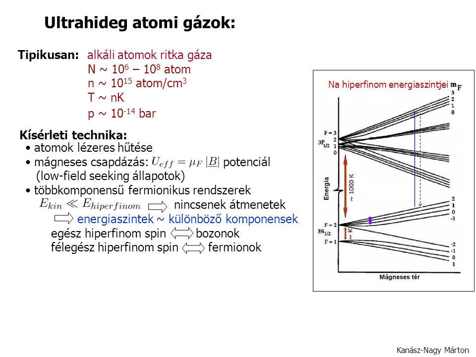 Kanász-Nagy Márton Ultrahideg atomi gázok: Tipikusan: alkáli atomok ritka gáza N ~ 10 6 – 10 8 atom n ~ 10 15 atom/cm 3 T ~ nK p ~ 10 -14 bar Na hiperfinom energiaszintjei Kísérleti technika: atomok lézeres hűtése mágneses csapdázás: potenciál (low-field seeking állapotok) többkomponensű fermionikus rendszerek nincsenek átmenetek energiaszintek ~ különböző komponensek egész hiperfinom spin bozonok félegész hiperfinom spin fermionok