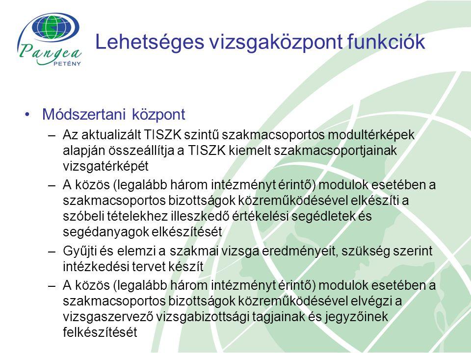 Lehetséges vizsgaközpont funkciók Módszertani központ –Az aktualizált TISZK szintű szakmacsoportos modultérképek alapján összeállítja a TISZK kiemelt