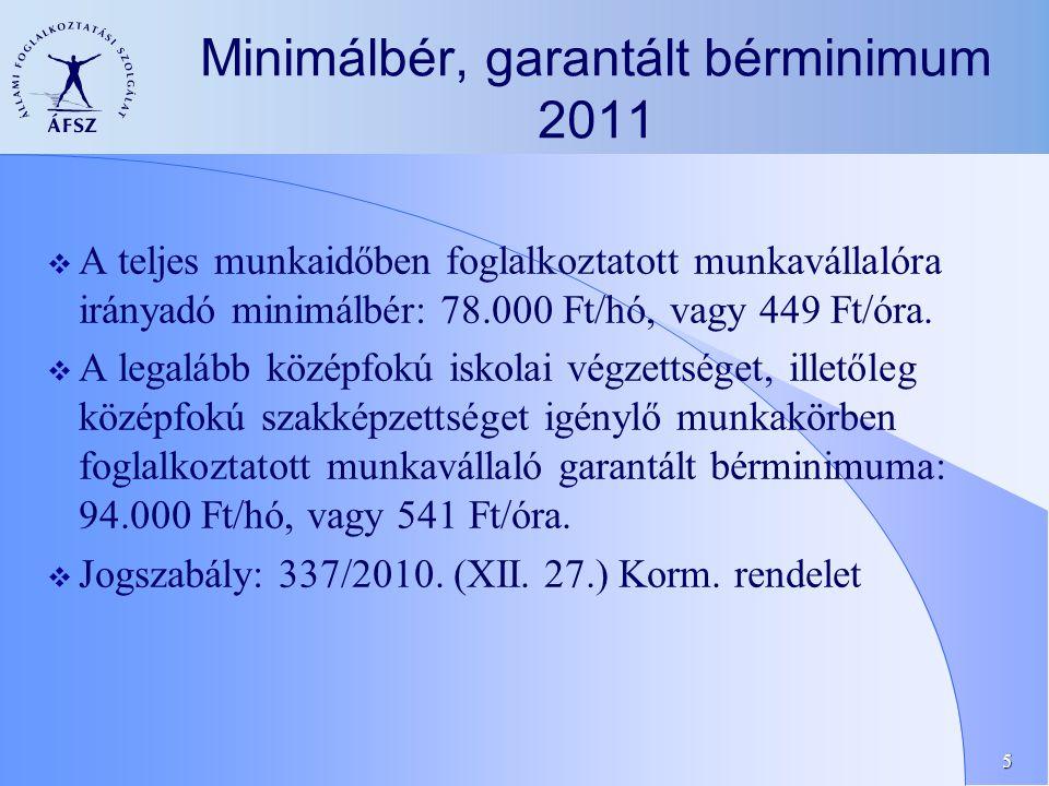 5 Minimálbér, garantált bérminimum 2011  A teljes munkaidőben foglalkoztatott munkavállalóra irányadó minimálbér: 78.000 Ft/hó, vagy 449 Ft/óra.