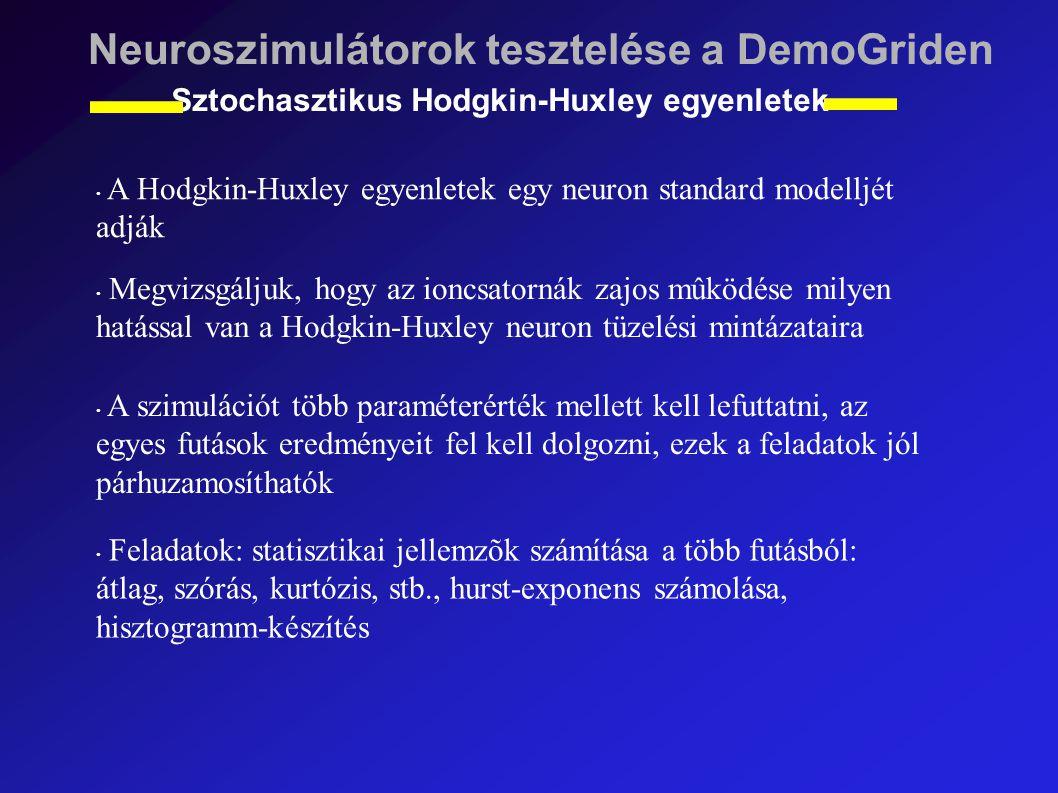 Neuroszimulátorok tesztelése a DemoGriden Sztochasztikus Hodgkin-Huxley egyenletek A Hodgkin-Huxley egyenletek egy neuron standard modelljét adják Megvizsgáljuk, hogy az ioncsatornák zajos mûködése milyen hatással van a Hodgkin-Huxley neuron tüzelési mintázataira A szimulációt több paraméterérték mellett kell lefuttatni, az egyes futások eredményeit fel kell dolgozni, ezek a feladatok jól párhuzamosíthatók Feladatok: statisztikai jellemzõk számítása a több futásból: átlag, szórás, kurtózis, stb., hurst-exponens számolása, hisztogramm-készítés