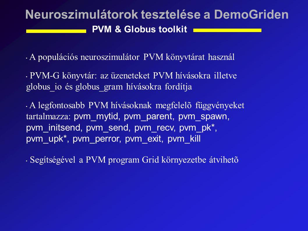 Neuroszimulátorok tesztelése a DemoGriden PVM & Globus toolkit A populációs neuroszimulátor PVM könyvtárat használ PVM-G könyvtár: az üzeneteket PVM hívásokra illetve globus_io és globus_gram hívásokra fordítja A legfontosabb PVM hívásoknak megfelelõ függvényeket tartalmazza: pvm_mytid, pvm_parent, pvm_spawn, pvm_initsend, pvm_send, pvm_recv, pvm_pk*, pvm_upk*, pvm_perror, pvm_exit, pvm_kill Segítségével a PVM program Grid környezetbe átvihetõ