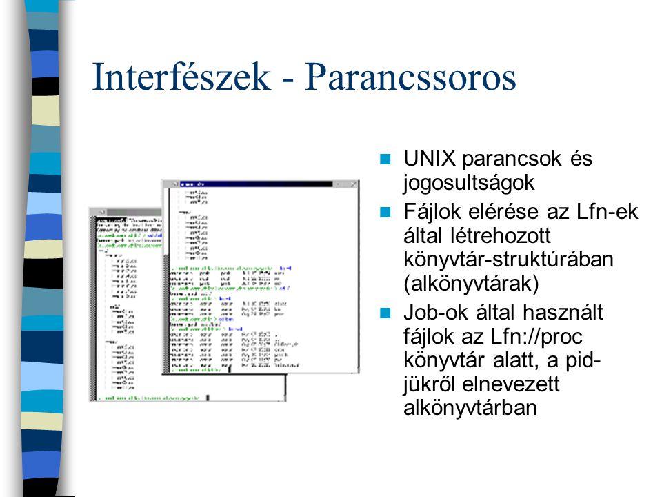 Interfészek - Parancssoros UNIX parancsok és jogosultságok Fájlok elérése az Lfn-ek által létrehozott könyvtár-struktúrában (alkönyvtárak) Job-ok álta