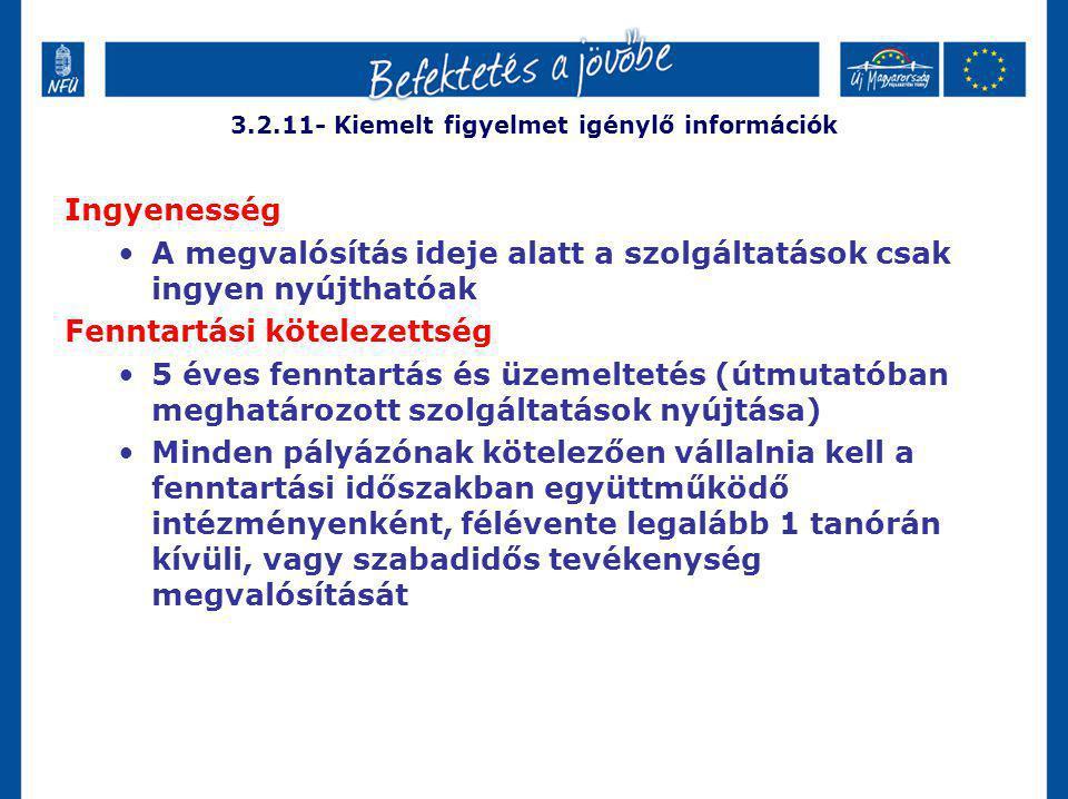 3.2.11- Kiemelt figyelmet igénylő információk Ingyenesség A megvalósítás ideje alatt a szolgáltatások csak ingyen nyújthatóak Fenntartási kötelezettsé