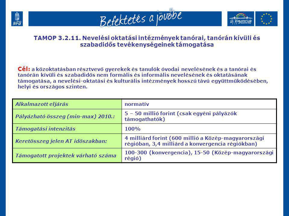 TAMOP 3.2.11. Nevelési oktatási intézmények tanórai, tanórán kívüli és szabadidős tevékenységeinek támogatása Cél: a közoktatásban résztvevő gyerekek