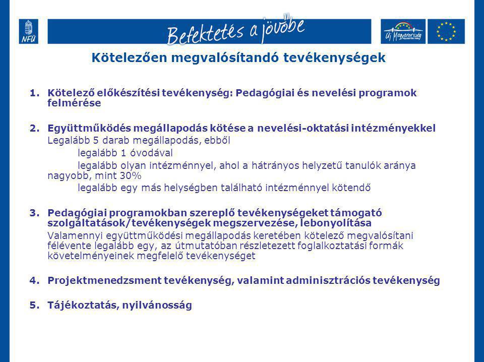 Kötelezően megvalósítandó tevékenységek 1.Kötelező előkészítési tevékenység: Pedagógiai és nevelési programok felmérése 2.Együttműködés megállapodás k