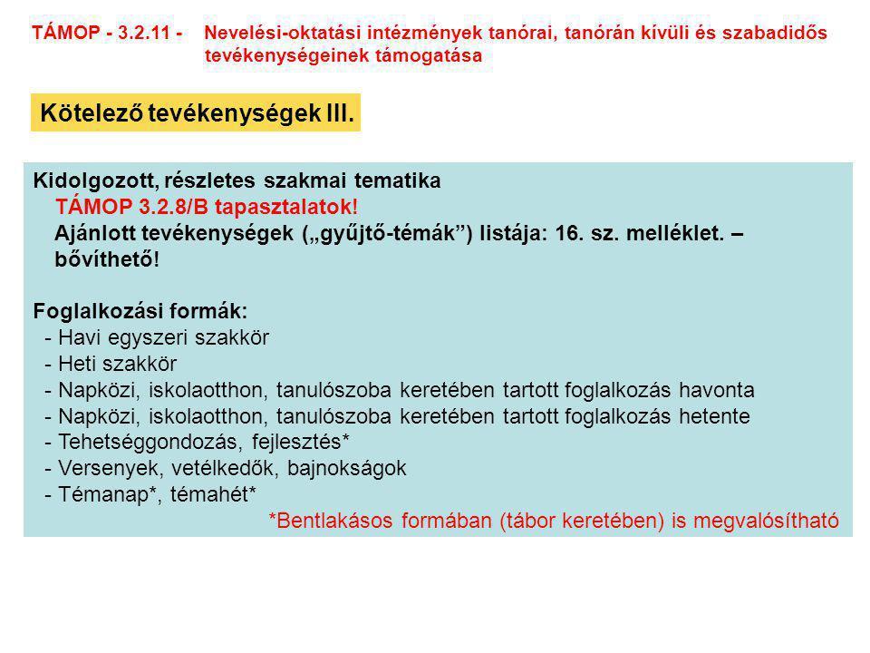 TÁMOP - 3.2.11 - Nevelési-oktatási intézmények tanórai, tanórán kívüli és szabadidős tevékenységeinek támogatása Kötelező tevékenységek III.