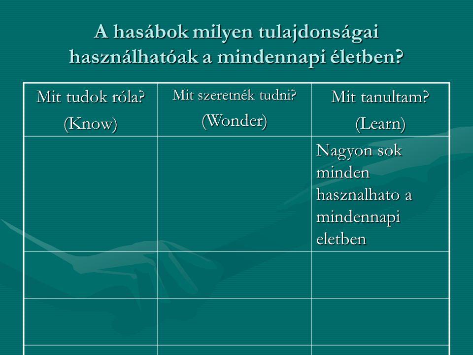 A hasábok milyen tulajdonságai használhatóak a mindennapi életben? Mit tudok róla? (Know) Mit szeretnék tudni? (Wonder) Mit tanultam? (Learn) Nagyon s