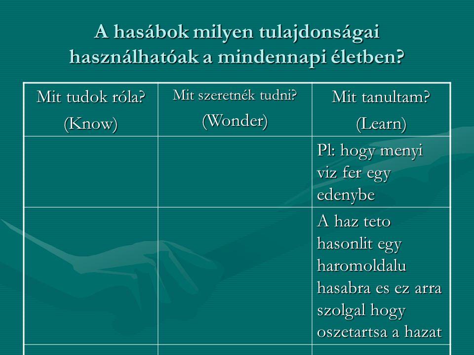 A hasábok milyen tulajdonságai használhatóak a mindennapi életben? Mit tudok róla? (Know) Mit szeretnék tudni? (Wonder) Mit tanultam? (Learn) Pl: hogy