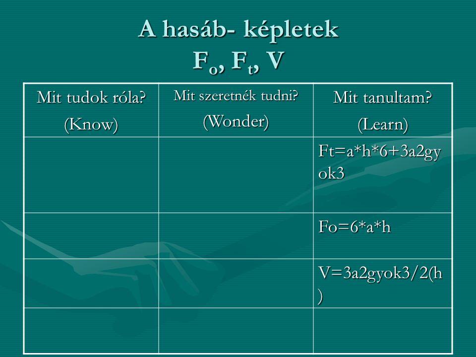A hasáb- képletek F o, F t, V Mit tudok róla? (Know) Mit szeretnék tudni? (Wonder) Mit tanultam? (Learn) Ft=a*h*6+3a2gy ok3 Fo=6*a*h V=3a2gyok3/2(h )