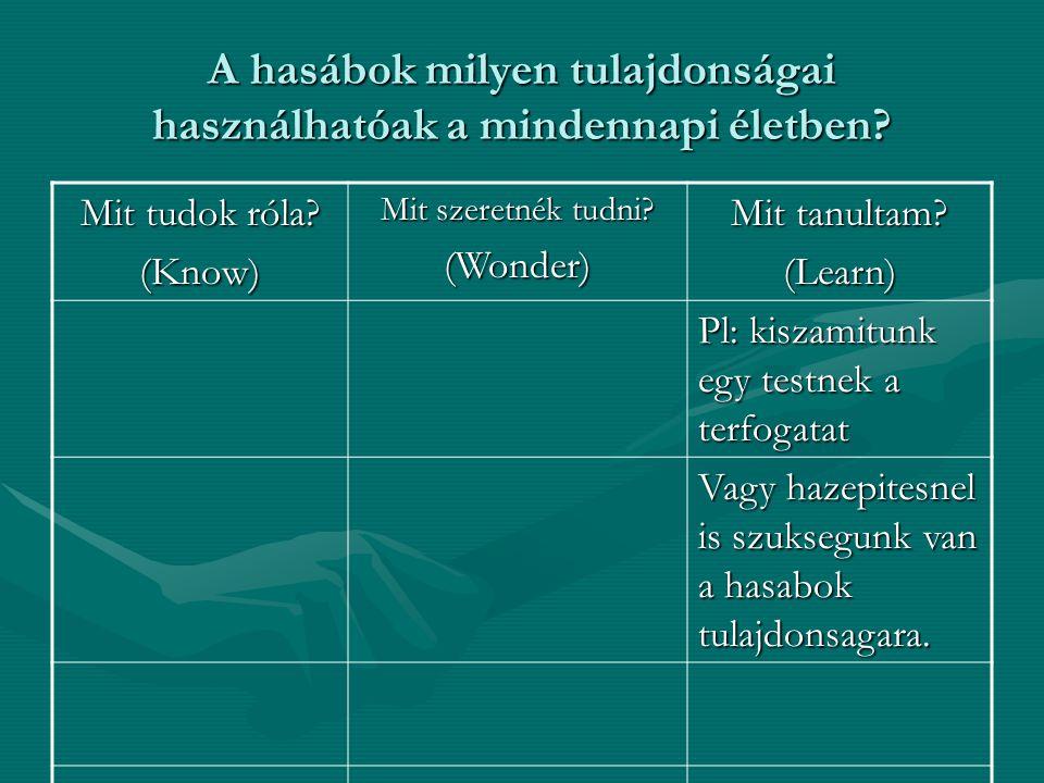 A hasábok milyen tulajdonságai használhatóak a mindennapi életben? Mit tudok róla? (Know) Mit szeretnék tudni? (Wonder) Mit tanultam? (Learn) Pl: kisz