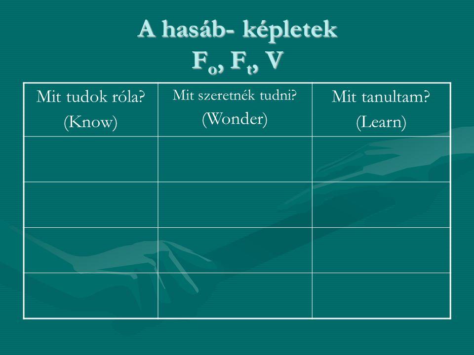A hasáb- képletek F o, F t, V Mit tudok róla? (Know) Mit szeretnék tudni? (Wonder) Mit tanultam? (Learn)