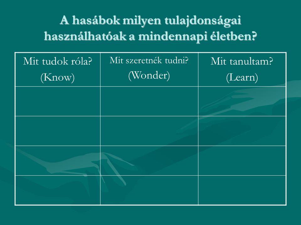 A hasábok milyen tulajdonságai használhatóak a mindennapi életben? Mit tudok róla? (Know) Mit szeretnék tudni? (Wonder) Mit tanultam? (Learn)